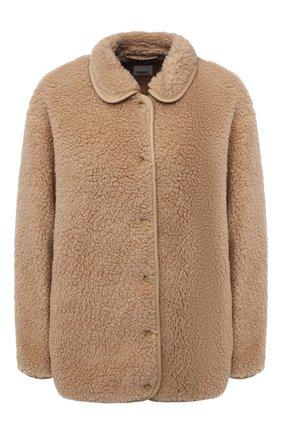 Женская шерстяная куртка BURBERRY бежевого цвета, арт. 8044413 | Фото 1 (Материал внешний: Шерсть; Длина (верхняя одежда): Короткие; Рукава: Длинные; Материал подклада: Купро; Стили: Кэжуэл; Кросс-КТ: Куртка)