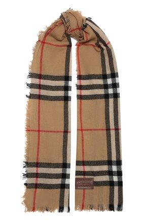 Женский кашемировый шарф BURBERRY коричневого цвета, арт. 8046212   Фото 1 (Материал: Шерсть, Кашемир)