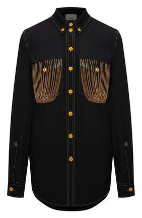 Женская рубашка из вискозы BURBERRY черного цвета, арт. 8046945 | Фото 1 (Материал внешний: Вискоза; Рукава: Длинные; Длина (для топов): Удлиненные; Стили: Гламурный; Принт: Без принта; Женское Кросс-КТ: Рубашка-одежда)