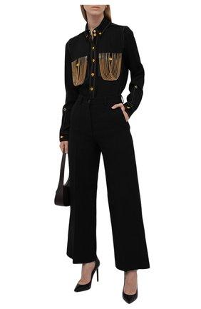 Женская рубашка из вискозы BURBERRY черного цвета, арт. 8046945 | Фото 2 (Материал внешний: Вискоза; Рукава: Длинные; Длина (для топов): Удлиненные; Стили: Гламурный; Принт: Без принта; Женское Кросс-КТ: Рубашка-одежда)