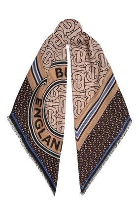 Женский платок из шерсти и шелка BURBERRY коричневого цвета, арт. 8046614   Фото 1 (Материал: Текстиль, Шелк, Шерсть)