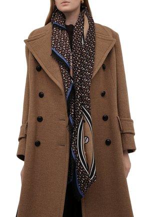 Женский платок из шерсти и шелка BURBERRY коричневого цвета, арт. 8046614   Фото 2 (Материал: Текстиль, Шелк, Шерсть)