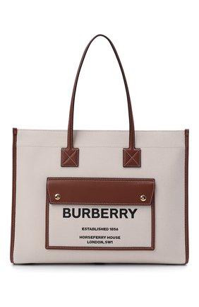 Женский сумка-тоут BURBERRY светло-коричневого цвета, арт. 8044129 | Фото 1 (Размер: large; Материал: Текстиль; Сумки-технические: Сумки-шопперы)