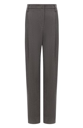 Женские шерстяные брюки GIORGIO ARMANI серого цвета, арт. 1WHPP0IH/T02MV | Фото 1 (Материал внешний: Шерсть; Стили: Кэжуэл; Женское Кросс-КТ: Брюки-одежда; Силуэт Ж (брюки и джинсы): Прямые; Длина (брюки, джинсы): Стандартные, Удлиненные)