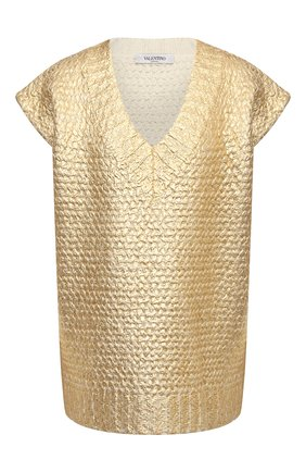 Женский шерстяной жилет VALENTINO золотого цвета, арт. WB0KM01Z6QB   Фото 1 (Длина (верхняя одежда): Короткие; Материал внешний: Шерсть; Стили: Гламурный; Женское Кросс-КТ: Жилет-одежда; Кросс-КТ: Трикотаж)