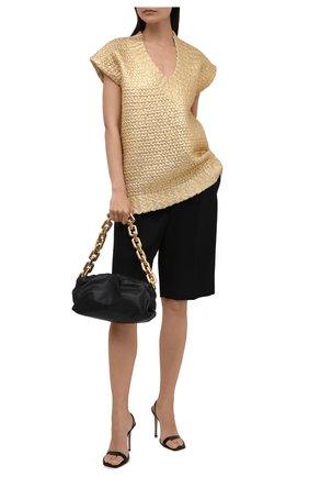 Женский шерстяной жилет VALENTINO золотого цвета, арт. WB0KM01Z6QB   Фото 2 (Длина (верхняя одежда): Короткие; Материал внешний: Шерсть; Стили: Гламурный; Женское Кросс-КТ: Жилет-одежда; Кросс-КТ: Трикотаж)