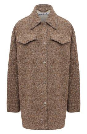 Женская шерстяная куртка ACNE STUDIOS кремвого цвета, арт. A90368   Фото 1 (Длина (верхняя одежда): До середины бедра; Материал подклада: Вискоза; Рукава: Длинные; Материал внешний: Шерсть; Стили: Кэжуэл; Кросс-КТ: Куртка)