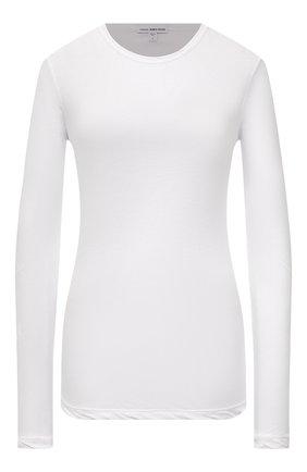 Женская хлопковый лонгслив JAMES PERSE белого цвета, арт. WEK3685   Фото 1 (Рукава: Длинные; Материал внешний: Хлопок; Длина (для топов): Стандартные; Стили: Кэжуэл; Принт: Без принта; Женское Кросс-КТ: Лонгслив-одежда)