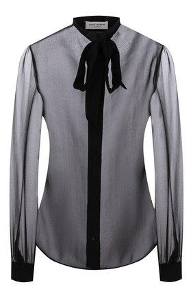 Женская шелковая блузка SAINT LAURENT черного цвета, арт. 660892/Y115W   Фото 1 (Длина (для топов): Стандартные; Рукава: Длинные; Материал внешний: Шелк; Стили: Гламурный; Принт: Без принта; Женское Кросс-КТ: Блуза-одежда)