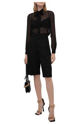 Женская шелковая блузка SAINT LAURENT черного цвета, арт. 660892/Y115W   Фото 2 (Длина (для топов): Стандартные; Рукава: Длинные; Материал внешний: Шелк; Стили: Гламурный; Принт: Без принта; Женское Кросс-КТ: Блуза-одежда)