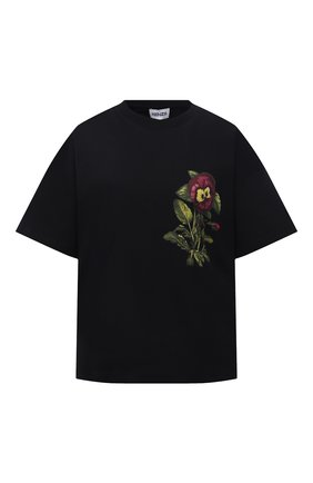 Женская хлопковая футболка KENZO черного цвета, арт. FB62TS6944SB   Фото 1 (Длина (для топов): Стандартные; Материал внешний: Хлопок; Рукава: Короткие; Стили: Спорт-шик; Принт: С принтом; Женское Кросс-КТ: Футболка-одежда)