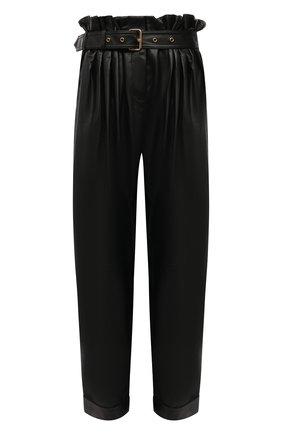 Женские кожаные брюки BALMAIN черного цвета, арт. WF0QJ005/L184   Фото 1 (Материал подклада: Вискоза; Длина (брюки, джинсы): Стандартные; Стили: Гламурный; Женское Кросс-КТ: Брюки-одежда; Силуэт Ж (брюки и джинсы): Прямые)