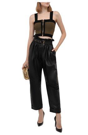 Женские кожаные брюки BALMAIN черного цвета, арт. WF0QJ005/L184   Фото 2 (Материал подклада: Вискоза; Длина (брюки, джинсы): Стандартные; Стили: Гламурный; Женское Кросс-КТ: Брюки-одежда; Силуэт Ж (брюки и джинсы): Прямые)