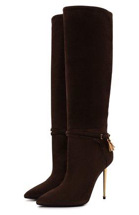 Женские замшевые сапоги TOM FORD коричневого цвета, арт. W2529T-LCL071 | Фото 1 (Материал внутренний: Натуральная кожа; Высота голенища: Высокие, Средние; Каблук тип: Шпилька; Каблук высота: Высокий; Подошва: Плоская)