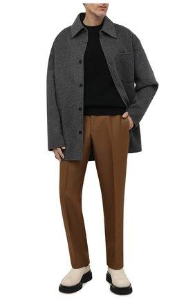 Мужской свитер из шерсти и кашемира ACNE STUDIOS черного цвета, арт. B60151   Фото 2 (Материал внешний: Шерсть; Мужское Кросс-КТ: Свитер-одежда; Принт: Без принта; Стили: Минимализм)