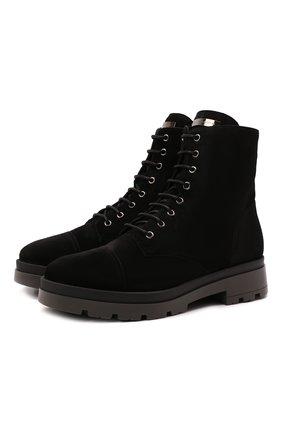 Мужские замшевые ботинки jerico GIUSEPPE ZANOTTI DESIGN черного цвета, арт. IU10024/001 | Фото 1 (Материал утеплителя: Натуральный мех; Подошва: Массивная; Мужское Кросс-КТ: Ботинки-обувь, зимние ботинки; Материал внешний: Замша)