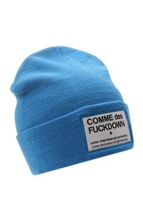 Мужская шапка COMME DES FUCKDOWN бирюзового цвета, арт. CDFA571   Фото 1 (Материал: Текстиль, Синтетический материал, Шерсть; Кросс-КТ: Трикотаж)