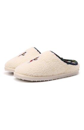 Детского домашние туфли POLO RALPH LAUREN кремвого цвета, арт. 13-RF103119/JUNI0R | Фото 1 (Материал внешний: Текстиль; Материал внутренний: Текстиль)