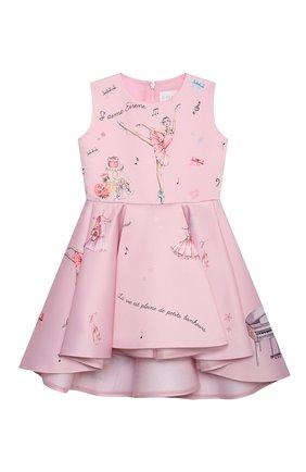 Детское платье EIRENE светло-розового цвета, арт. 212213 | Фото 1 (Материал внешний: Синтетический материал; Материал подклада: Хлопок; Рукава: Короткие; Девочки Кросс-КТ: Платье-одежда; Случай: Вечерний)
