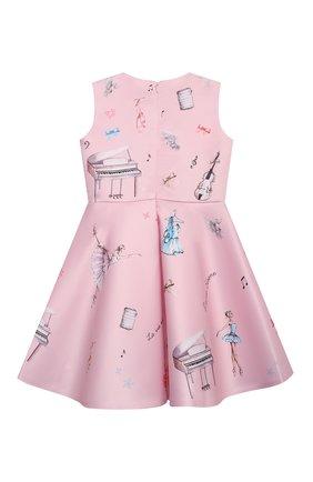 Детское платье EIRENE светло-розового цвета, арт. 212213 | Фото 2 (Материал внешний: Синтетический материал; Материал подклада: Хлопок; Рукава: Короткие; Девочки Кросс-КТ: Платье-одежда; Случай: Вечерний)