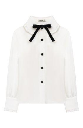 Детское блузка из вискозы и шелка DESIGNERS CAT белого цвета, арт. 100000K01000954/4A-8A | Фото 1 (Материал внешний: Вискоза, Шелк; Рукава: Длинные)