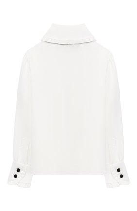 Детское блузка из вискозы и шелка DESIGNERS CAT белого цвета, арт. 100000K01000954/4A-8A | Фото 2 (Материал внешний: Вискоза, Шелк; Рукава: Длинные)