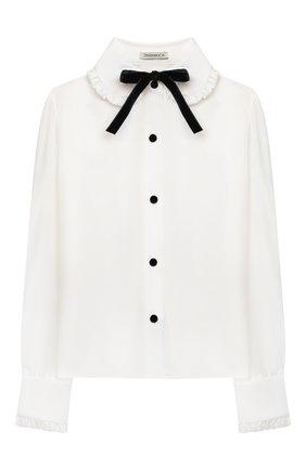 Детское блузка из вискозы и шелка DESIGNERS CAT белого цвета, арт. 100000K01000954/14A | Фото 1 (Рукава: Длинные; Материал внешний: Вискоза, Шелк)