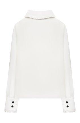Детское блузка из вискозы и шелка DESIGNERS CAT белого цвета, арт. 100000K01000954/14A | Фото 2 (Рукава: Длинные; Материал внешний: Вискоза, Шелк)