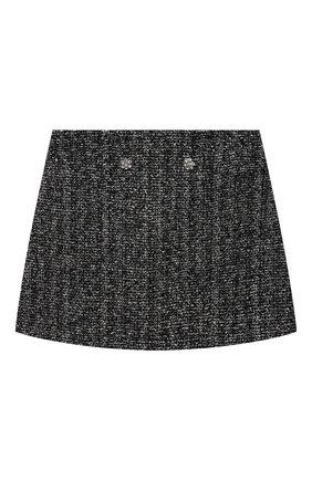 Детская твидовая юбка DESIGNERS CAT черного цвета, арт. 100000K01000953/10A-12A | Фото 1 (Материал подклада: Хлопок; Материал внешний: Вискоза, Синтетический материал, Хлопок; Случай: Повседневный)