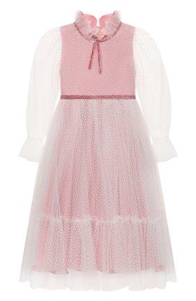Детское платье DESIGNERS CAT розового цвета, арт. 100000K01000951/2A-3A | Фото 1 (Рукава: Длинные; Материал подклада: Хлопок; Материал внешний: Синтетический материал; Девочки Кросс-КТ: Платье-одежда; Случай: Вечерний)