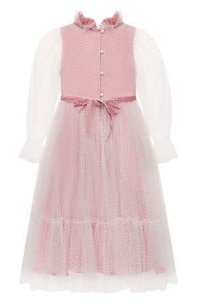 Детское платье DESIGNERS CAT розового цвета, арт. 100000K01000951/2A-3A | Фото 2 (Рукава: Длинные; Материал подклада: Хлопок; Материал внешний: Синтетический материал; Девочки Кросс-КТ: Платье-одежда; Случай: Вечерний)