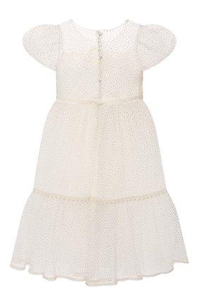 Детское платье DESIGNERS CAT белого цвета, арт. 100000K01000948/4A-8A | Фото 2 (Рукава: Короткие; Материал подклада: Хлопок; Материал внешний: Синтетический материал; Девочки Кросс-КТ: Платье-одежда; Случай: Вечерний)