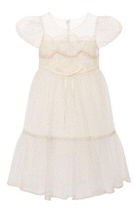 Детское платье DESIGNERS CAT белого цвета, арт. 100000K01000948/2A-3A | Фото 1 (Материал внешний: Синтетический материал; Рукава: Короткие; Материал подклада: Хлопок; Девочки Кросс-КТ: Платье-одежда; Случай: Вечерний)