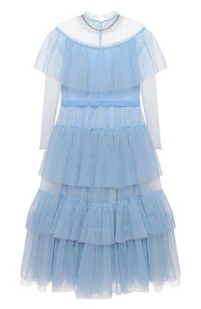 Детское платье DESIGNERS CAT голубого цвета, арт. 100000K01000637/10A-12A | Фото 1 (Материал подклада: Хлопок; Материал внешний: Синтетический материал; Девочки Кросс-КТ: Платье-одежда; Случай: Вечерний; Рукава: Длинные)