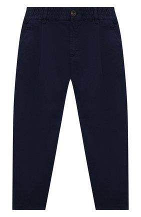 Детские хлопковые брюки DAL LAGO темно-синего цвета, арт. W107/9101/7-12 | Фото 1 (Материал внешний: Хлопок; Мальчики Кросс-КТ: Брюки-одежда)