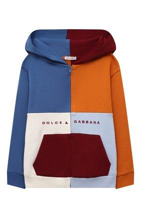 Детский хлопковая толстовка DOLCE & GABBANA разноцветного цвета, арт. L4JWBH/G7A9S/8-14   Фото 1 (Материал подклада: Хлопок; Материал внешний: Хлопок; Рукава: Длинные; Мальчики Кросс-КТ: Толстовка-одежда)