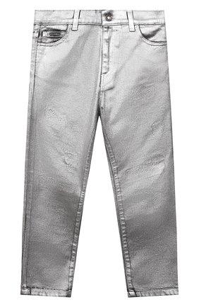Детские джинсы DOLCE & GABBANA серебряного цвета, арт. L42F37/LD992/8-14   Фото 1 (Материал внешний: Хлопок)