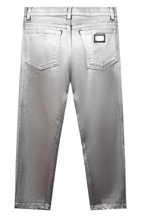 Детские джинсы DOLCE & GABBANA серебряного цвета, арт. L42F37/LD992/8-14   Фото 2 (Материал внешний: Хлопок)