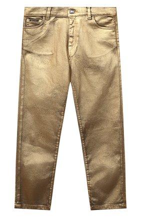 Детские джинсы DOLCE & GABBANA золотого цвета, арт. L42F37/LD991/8-14   Фото 1 (Материал внешний: Хлопок)