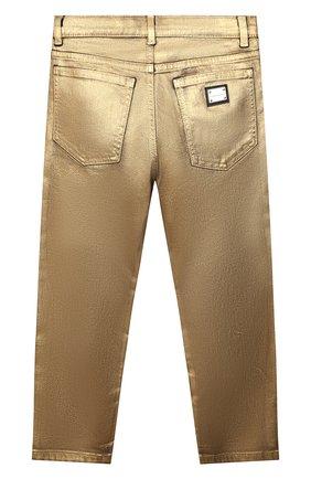 Детские джинсы DOLCE & GABBANA золотого цвета, арт. L42F37/LD991/8-14   Фото 2 (Материал внешний: Хлопок)