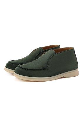 Детские замшевые ботинки LORO PIANA зеленого цвета, арт. FAD6916 | Фото 1 (Материал внутренний: Натуральная кожа)