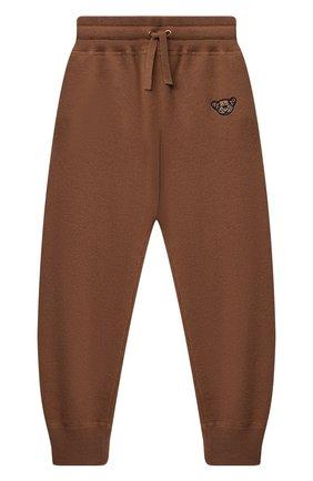 Детские кашемировые джоггеры BURBERRY коричневого цвета, арт. 8045146 | Фото 1 (Материал внешний: Кашемир, Шерсть; Девочки Кросс-КТ: Брюки-одежда)