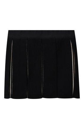 Детская шерстяная юбка BURBERRY темно-синего цвета, арт. 8043953 | Фото 1 (Материал внешний: Шерсть)