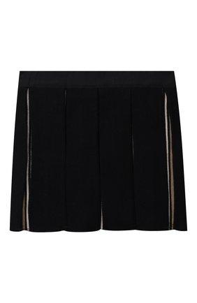 Детская шерстяная юбка BURBERRY темно-синего цвета, арт. 8043953 | Фото 2 (Материал внешний: Шерсть)