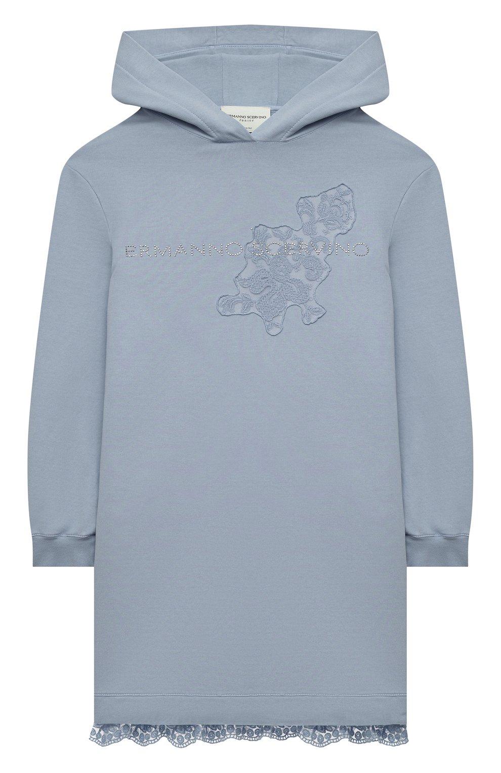 Детское хлопковое платье ERMANNO SCERVINO голубого цвета, арт. ESFAB040 FE147 YS008/M-XL   Фото 1 (Рукава: Длинные; Случай: Повседневный; Материал внешний: Хлопок; Девочки Кросс-КТ: Платье-одежда)