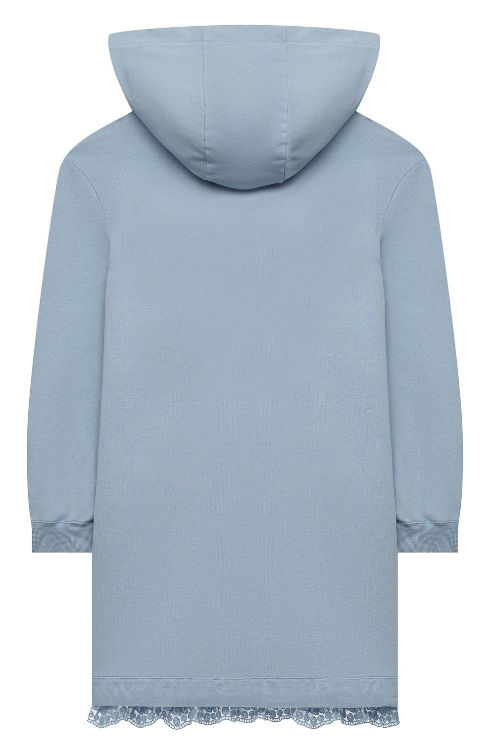 Детское хлопковое платье ERMANNO SCERVINO голубого цвета, арт. ESFAB040 FE147 YS008/M-XL   Фото 2 (Рукава: Длинные; Случай: Повседневный; Материал внешний: Хлопок; Девочки Кросс-КТ: Платье-одежда)
