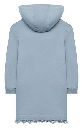 Детское хлопковое платье ERMANNO SCERVINO голубого цвета, арт. ESFAB040 FE147 YS008/M-XL | Фото 2 (Материал внешний: Хлопок; Рукава: Длинные; Девочки Кросс-КТ: Платье-одежда; Случай: Повседневный)