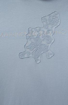 Детское хлопковое платье ERMANNO SCERVINO голубого цвета, арт. ESFAB040 FE147 YS008/M-XL   Фото 3 (Рукава: Длинные; Случай: Повседневный; Материал внешний: Хлопок; Девочки Кросс-КТ: Платье-одежда)