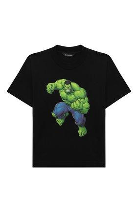 Детская хлопковая футболка BALENCIAGA черного цвета, арт. 682142/TLV65 | Фото 1 (Рукава: Короткие; Материал внешний: Хлопок)