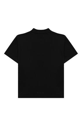 Детская хлопковая футболка BALENCIAGA черного цвета, арт. 682142/TLV65 | Фото 2 (Рукава: Короткие; Материал внешний: Хлопок)